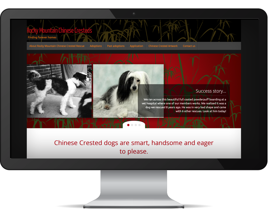 graphic design Rocky Mountain Chinese Crested Rescue website